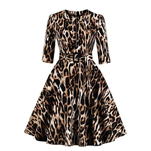 Wellwits Women's 3/4 Sleeve Zipper Belt Pocket Leopard Print Vintage Dress XL