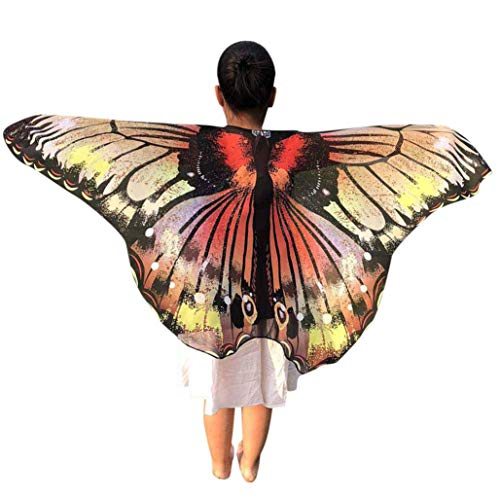 Yezijin Halloween Costumes, Children Kids Butterfly Print Wings Shawl Scarves Poncho Costume Accessory (Multicolor) -