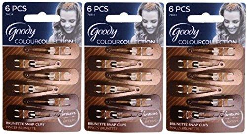 Goody Colour Collection Contour Clips, Color: Brunette - 3 Packs of 6 Count = 18 Count (Color Clip)