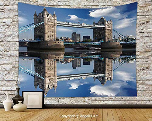 AngelDOU London Tapestries for Bedroom Wall Hanging Tower Bridge with City Cruise in Summer Day Mirroring on Tranquil Thames River Polyester Home Improvement.W70.8xL59(inch)