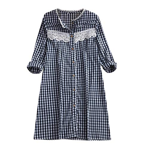 iLOOSKR Women's Plus Size Casual Long Sleeve Lace Plaid Printed Long Shirt Straight Dress Black