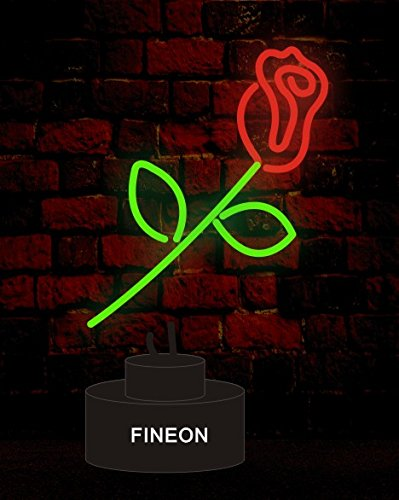 Rose Handicrafted Real Glass Tube Neon Sculpture with PLASTIC BASE as A4 size for Beer Bar Pub Garage Room (Bar Sculpture Neon)
