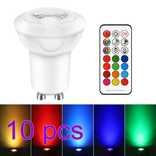3W GU10 Dimmable RGB LED Light Bulbs, ONEVER Colors Changing Light Bulb with Remote Control, 45° Beam Angle and Memery Timing Function for Indoor Outdoor, AC 85-265V (RGB+Cool White) (Pack of 10X)