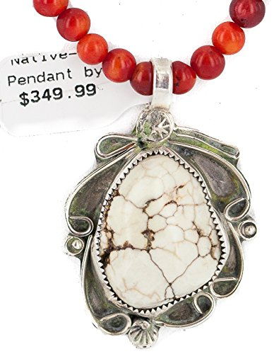 .925 Sterling Silver Certified Authentic Navajo Natural White Buffalo Turquoise Coral Native American Necklace & Pendant