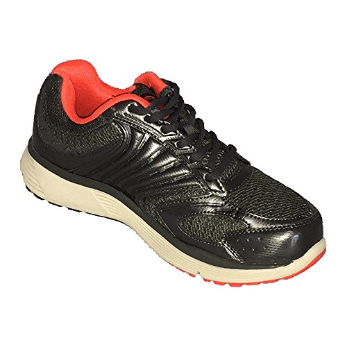 Dr Zen Riley Kvinna Terapeutiskt Diabetisk Extra Djup Sko Läder / Mesh Spets-up Grå / Röd