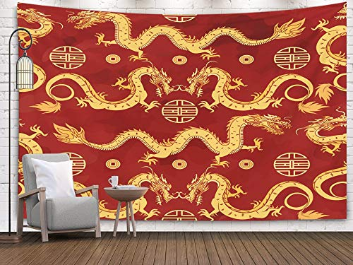 (Pamime Wall Art Hanging Tapestry, Home Decor Tapestry Oriental Pattern Gold Dragons Chinese Ornament Watercolor Background Dorm Room Bedroom Living Room 80x60 Inches(200x150cm) Bedspread InHouse)
