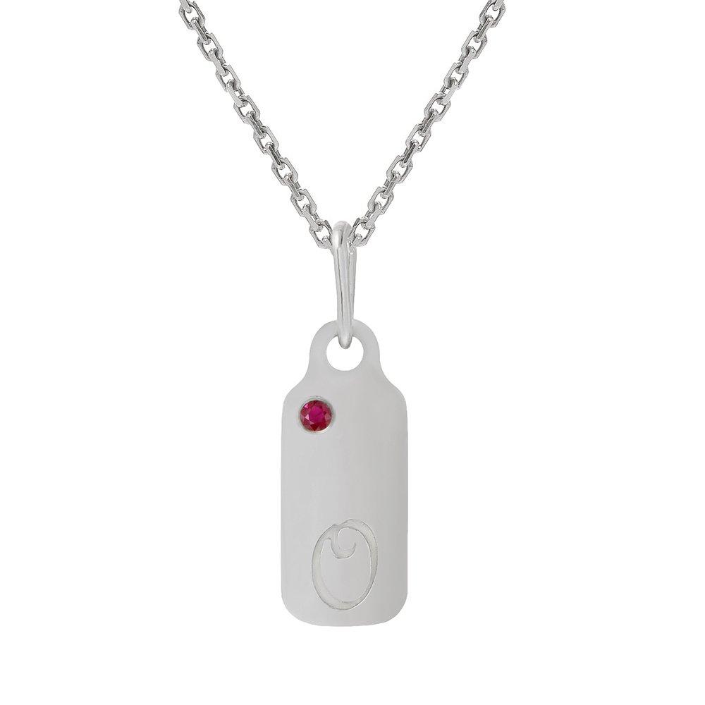 14k Gold Garnet January Birthstone Cursive Letter O Dog-tag Necklace