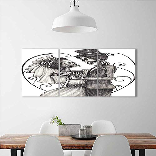 SOCOMIMI Frameless Paintings 3 Pieces Painting Skull Skeleton Marriage Eterna nish Festive Print Dimgrey White to liven up energize any wall room. W12 x H32 x 3pcs -