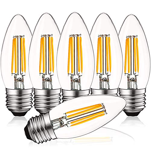 (Luxrite 4W Vintage E26 Candelabra LED Bulbs Dimmable, 430 Lumens, 2700K Warm White, Medium Base Candelabra Bulb 40W Equivalent, Torpedo Tip Clear Glass, Edison Filament Light Bulb, UL Listed (6 Pack) )