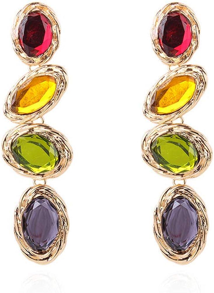 Pendientes largos de piedras preciosas de color vintage con diamantes de temperamento