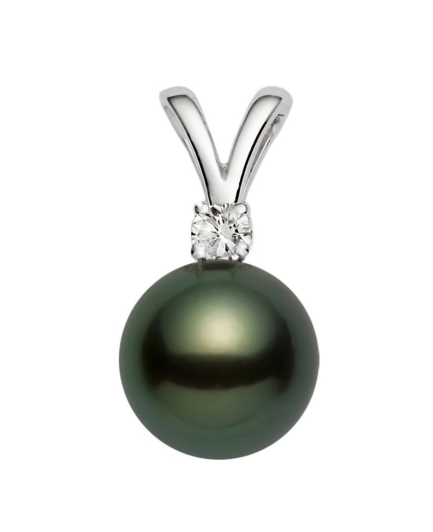 14K White Gold AAA Quality Black Tahitian Cultured Pearl Pendant with Diamond (10-11mm)