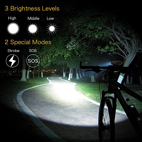 TANSOEN USB Rechargeable Bicycle Light Front and Back Set, 2000 Lumens LED Lamp Bike Headlight and COB Tail Light -【Upgrade Front Bike Light Base】 Waterproof 5 Light Modes for Road Cycling by TANSOREN (Image #1)