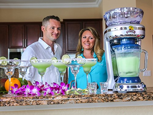 Margaritaville Key West Frozen Concoction Maker with Easy Pour Jar and XL Ice Reservoir 8 Makes up to 2.5 pitchers of frozen concoctions thanks to its extra-large ice reservoir Creates premium shaved ice rather than crushed ice like a blender, for an authentic frozen concoction experience. Key West Frozen Concoction Maker with 36-ounce blending jar for creating fun, tropics-inspired party drinks Includes 4 pre-programmed drink settings, plus automatic shave 'n blend cycle and manual blend only/shave only cycles