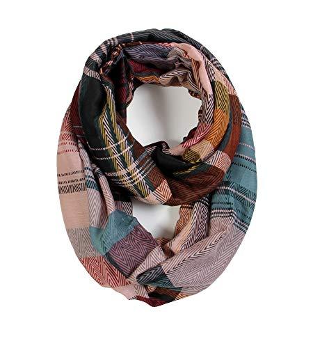 Scarfand's Plaid & Tartan Winter Infinity Scarf Wraps (Wavy-multicolored (Pk))