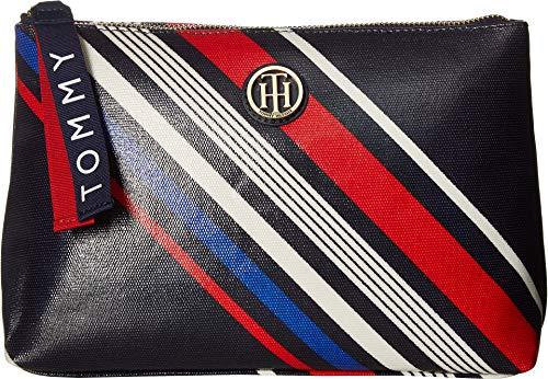 (Tommy Hilfiger Women's T-Bottom Pouch Diagonal Stripe Navy/Multi One Size)