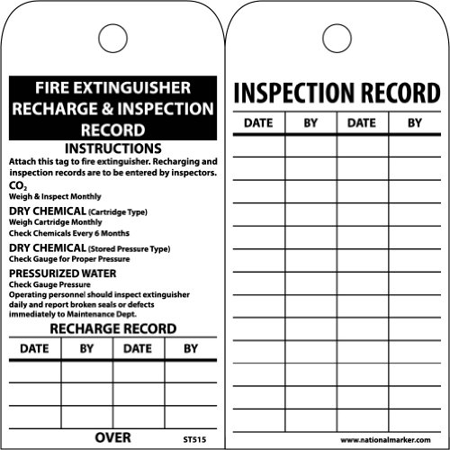 Recharge Fire Extinguisher (NMC ST515 Accident Prevention Tag,