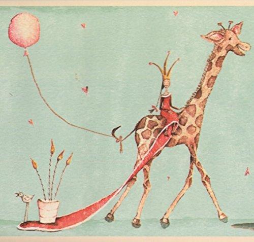 Crowned Princesses on Giraffe Hippo Mint Green Wallpaper Border Retro Design, Roll 15' x 9
