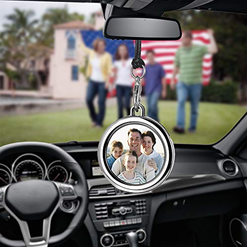 Libloop Car Auto Rearview Mirror Hanging Ornament Beautiful Photo Frame Locket Photo Frame Metal for Car Mirror (Round)