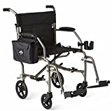 "Medline Ultralight Transport Chair, 19"" Wide Seat, Permanent Desk-Length Arms, Swing Away Footrests, Silver Frame"