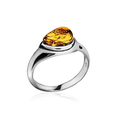 Amber Sterling Silver Drop Ring f0zkSev8l