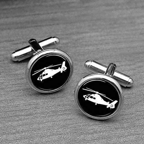 Plane Cufflinks Menss Accessory Silver Round Cufflinks Cufflinks for him cuflinks Custom Cufflinks Helicopter Cuff Links