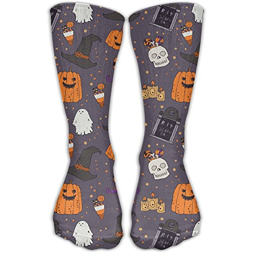 Novelty Halloween Pumpkins Headstone Witches Hat Casual Premium Quality Long Socks Sports Crew -