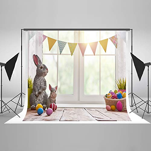 Kate 8x8ft Happy Easter Backdrops for Photography Window Flags Rabbit Background Photo Studio Props]()