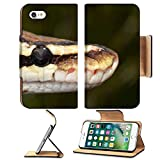 MSD Premium Apple iPhone 7 iPhone7 Flip Pu Leather Wallet Case IMAGE ID 37165240 Fire Ball Snake close up eye and detail scales