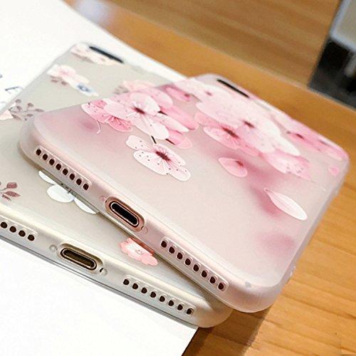 Funda para iPhone 7 Plus / 8 Plus, Vandot Mate de Lujo Caja Teléfono Móvil Carcasa Protectora Delgado Caso de TPU Silicona Alivio en 3D Funda Protective Case Cover para movil iPhone 7 Plus / 8 Plus 5. Peach Flor