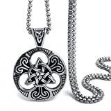 Elfasio Large Celtic knot Magic Both Sided Pendant Necklace Men's Stainless Steel Box Chain Jewelry(20inch)