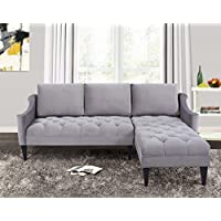 Jennifer Taylor Home Amelie Collection Modern Hand Tufted Accented Reversible Velvet R/L Arm Facing Sectional Sofa with Wooden Legs, Opal Gray