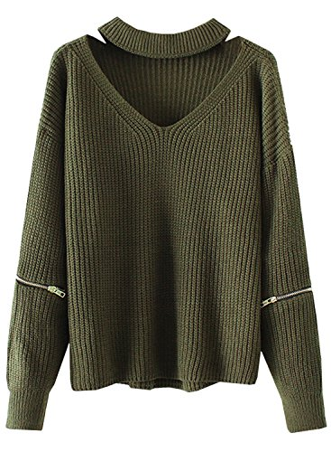 Futurino Womens Solid Choker V Neck Long Sleeve Loose Knit Sweater Jumper Top