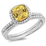 DazzlingRock Collection 14K Gold Cushion Citrine & Round White Diamond Bridal Halo Engagement Ring With Matching Band Set