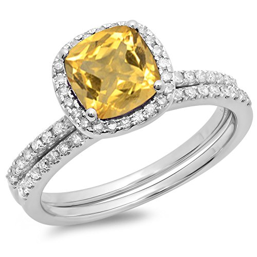 Dazzlingrock Collection 14K 7 MM Cushion Citrine & Round White Diamond Halo Wedding Ring Set, White Gold, Size 5.5