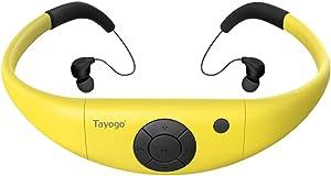 Tayogo 8GB Waterproof MP3 Player, IPX8 Swimming Waterproof Headphones Work for 6-8 Hours Underwater 3 Meters with Shuffle Feature - Yellow