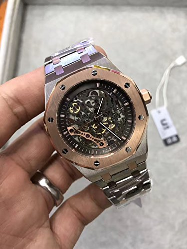 Luxury Brand Stainless Steel Two Tone Color Black dial Automatic Movement Skeleton Oak Watch -