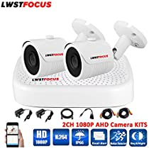 LWSTFOCUS 2MP AHD Security Camera System 2 X 1080P Weatherproof AHD Camera with 3.6mm Lens And 1080N 8CH DVR Recorder Support AHD/TVI/CVBS- No Hard Drive