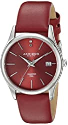 Akribos XXIV Women's AK879RD Diamond Accented Silver Tone Stainless Steel Burgundy Leather Strap Watch