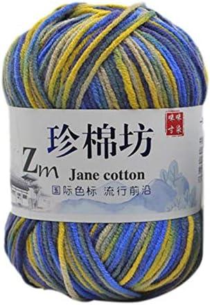 Xiuinserty - Ovillo de lana (50 g, algodón de leche, hilo teñido, teñido, hilo de croché colorido) G: Amazon.es: Hogar