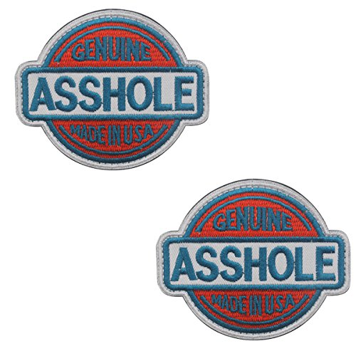 Genuine Asshole Tactical Military Embroidery Velcro Patch Emblem Embroidered Fastener Hook and Loop Funny Patches for Cap Jacket Backpack 2.95x2.6 inch -Bundle 2 Pieces