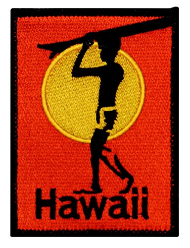 Single Count  Custom And Unique  2 1 2  X 3 1 2  Inches  Rectangle Hawaii Beach Surfer Holding Surf Board With Rising Sun Iron On Embroidered Applique Patch  Red  Black And Yellow Colors