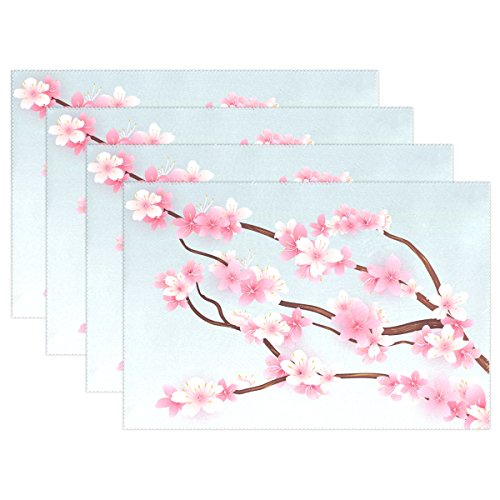Ethel Ernest Japanese Cherry Blossom Heat-resistant Placemats, Polyester Tablemat Place Mat for Kitchen Dining Room Set of 6 (Cherry Placemat)