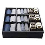 Luxury and Stylish Acrylic Organizer - Fine and Elegant Gift- Keep Belts, Socks, Ties, Underwear, Panties, Briefs, Boxers, Scarves Organized - Drawer Divider, Closet and Storage Box