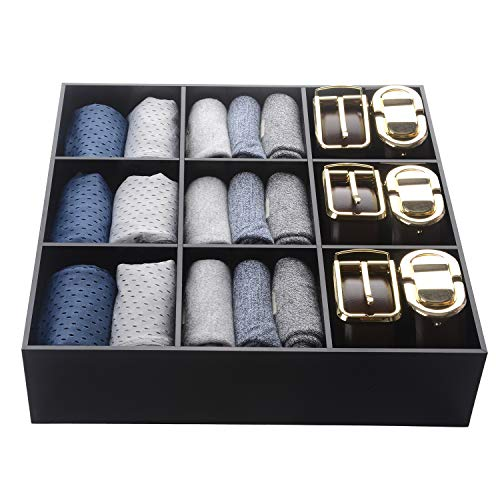 Luxury and Stylish Acrylic Organizer - Fine and Elegant Gift - Keep Belts, Socks, Ties, Underwear, Panties, Briefs, Boxers, Scarves Organized - Drawer Divider, Closet and Storage Box - Necktie Boxer