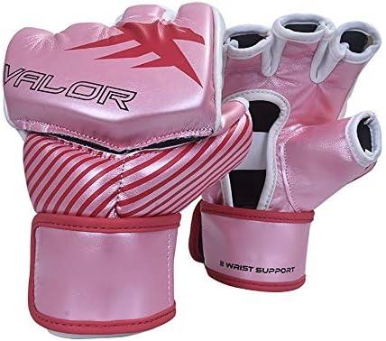 エクササイズ用 キックボクシングスパーリングヘビーバッグのためにUFCグローブレザーフィンガーレスパンチングバッグミット 通気性 (Color : Pink, Size : XL)