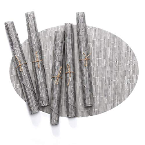 LANDZOON Woven Oval Table Placemats PVC Tablemats Non-Slip Washable Woven Vinyl Bamboo Heat-Resistant Tablemat Set(6 pcs) (Silver)