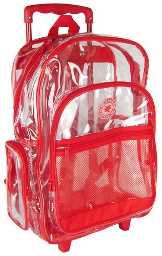 K-Cliffs Rolling Clear Transparent Multi-pockets Backpack with ...