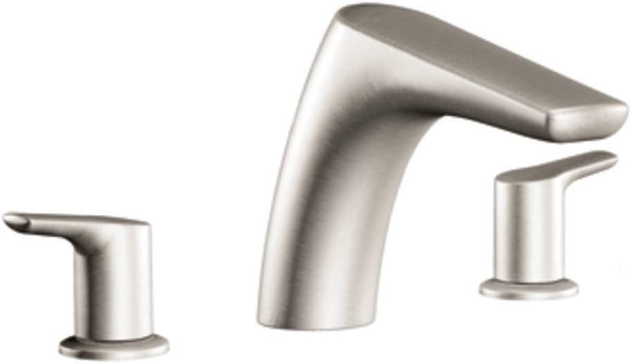 Moen T986BN Method Two-Handle Deck Mount Roman Tub Faucet Trim Kit, Valve Required, Brushed Nickel