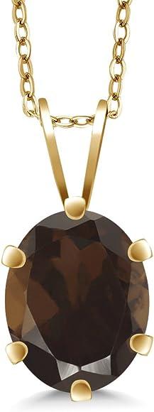 Gem Stone King 0.75 Ct Oval Brown Smoky Quartz 14K White Gold Pendant