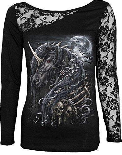 Spiral Womens - Dark Unicorn - Lace One Shoulder Top Black - L (Gothic Unicorn)